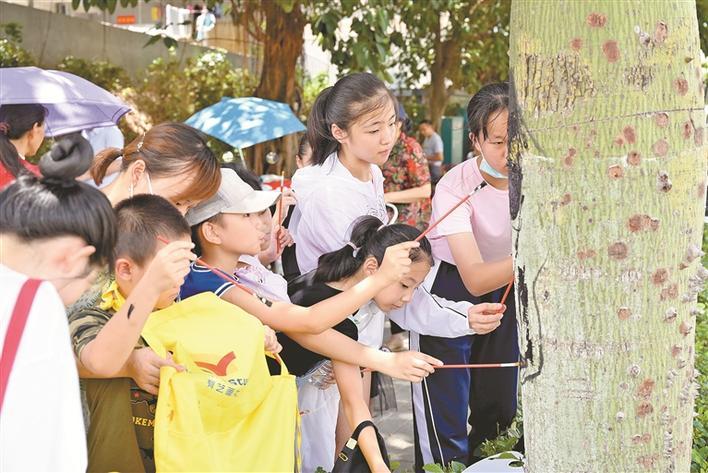 Children paint animals on trees,longhua,longhua district,Longhua Government Online